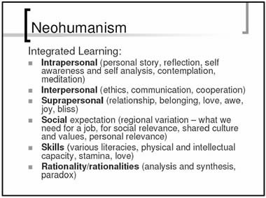 Neohumanism; Integrated learning: *Intrapersonal (personal story, reflection, self awareness and self analysis, contemplation, meditation); *Interpersonal (ethics, communication, cooperation); *Suprapersonal (relationship, belonging, love, awe, joy, bliss); *Social expectation (regional variation - what we need for a job, for social relevance, shared culture and values, personal relevance); *Skills (various literacies, physical and intellectual capacity, stamina, love); *Rationality/rationalities (analysis and synthesis, paradox)