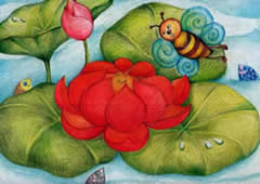 Honey Bee and Red Lotus